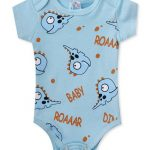 Body Manga Curta Baby Roaaar Azul