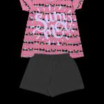 Conj. Blusa est. Silk Summer shorts liso Rosa Barbie