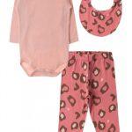 Kit Body Bebê Feminino Oncinha Rosa Coral - Moda Love