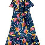 Alakazoo - Vestido Malha Estampado Acompanha Cinto Marinho
