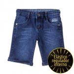 Bermuda Jeans Infantil Masculina Listradinha Escuro - Burile