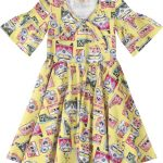 Carinhoso - Vestido Amarelo Vintage com Manga Sino