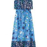 Carinhoso - Vestido Azul Longo Floral Menina