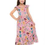 Fakini Kids - Vestido Longo Estampado Rosa