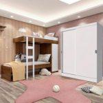 Kit Madesa Guarda-Roupa Infantil Nick com 2 Portas de Correr + Beliche Larissa Branco/Rustic/Branco