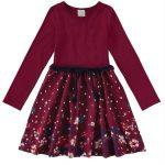Malwee Kids - Vestido Bordô Evasê Floral