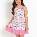 Moda Pop - Vestido Infantil Raposas Rosa