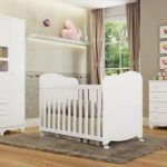 Quarto Completo Bebê Uli 3 portas 100% MDF Branco Móveis Peroba - Moveis Peroba Branco
