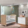 Quarto de Bebê Cômoda Doce Sonho e Berço 2484 Carvalho/Branco – Qmovi